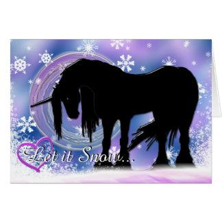 Tarjeta El unicornio negro místico (déjelo la nieve)