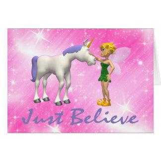 Tarjeta El unicornio y la hada apenas creen
