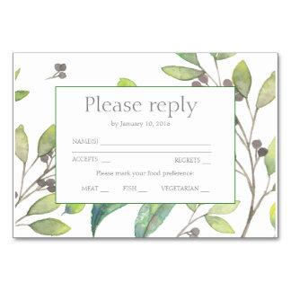 Tarjeta El verde deja el rsvp de la invitación del boda