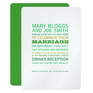 Tarjeta El verde y el boda con clase del oro invitan