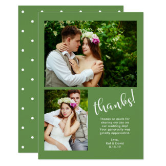 Tarjeta El verdor elegante el   boda de dos fotos le