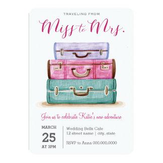 Tarjeta El viajar de Srta. a señora Pink Bridal Shower