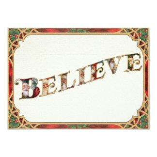 Tarjeta El Victorian adornado Santa cree tipografía