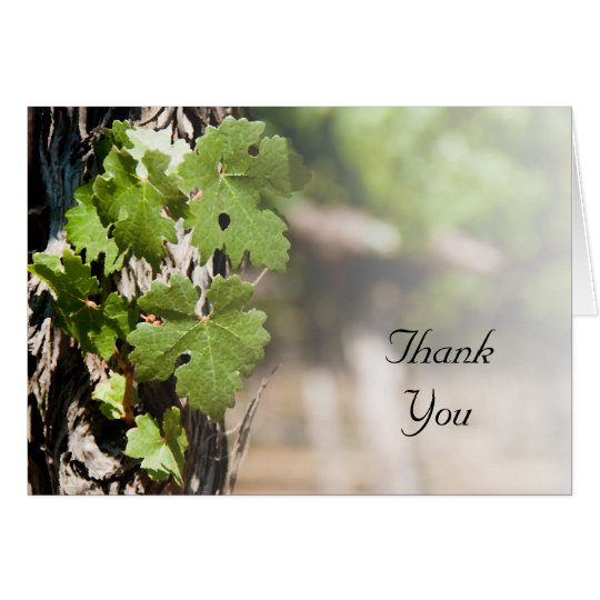 Tarjeta El viñedo de las hojas de la uva le agradece
