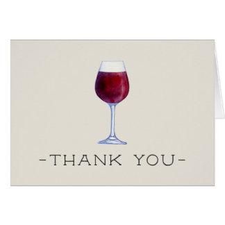 Tarjeta El vino de la acuarela le agradece carda
