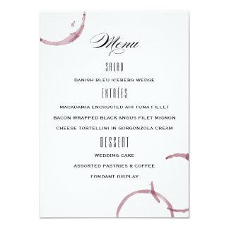 Tarjeta El vino mancha el menú del boda del viñedo del
