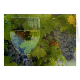 Tarjeta El vino y la uva le agradecen