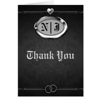 Tarjeta El vintage de plata y negro gótico le agradece