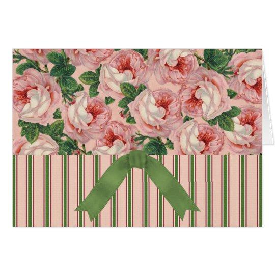Tarjeta El vintage floral y la raya con la cinta carda…