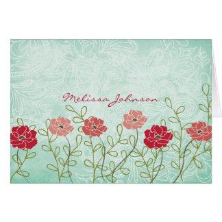 Tarjeta El vintage floral y las hojas personalizaron
