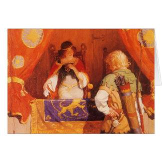 Tarjeta El vintage Robin Hood encuentra a la criada