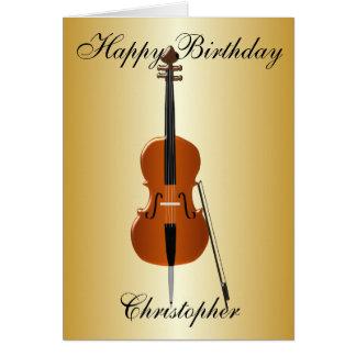 Tarjeta El violoncelo apenas añade el cumpleaños conocido