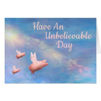 Tarjeta El volar Cerdo-Tiene un día increíble