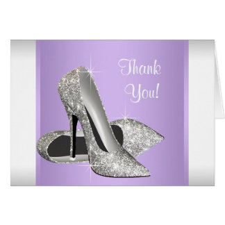 Tarjeta El zapato púrpura del tacón alto de la lavanda le