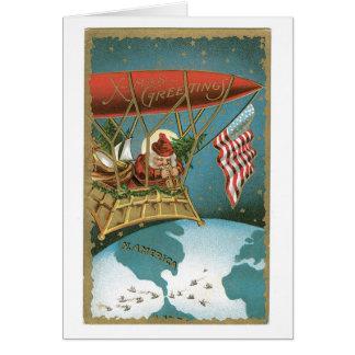 Tarjeta El zepelín de Santa - patriotismo americano