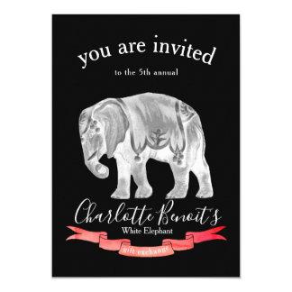 Tarjeta Elefante blanco del vintage y bandera del