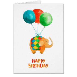 Tarjeta Elefante del feliz cumpleaños y espacio en blanco