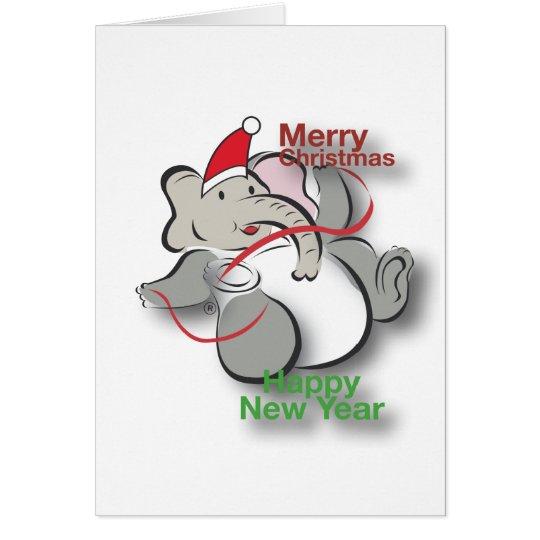 Tarjeta Elefante en navidad