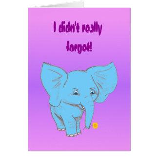 Tarjeta elefante tardío,