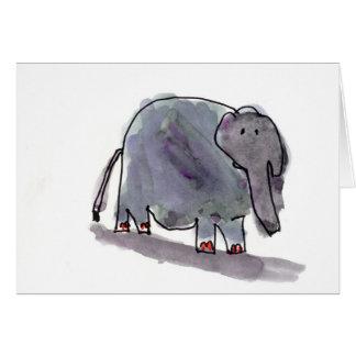 Tarjeta Elefante tocado con la punta del pie rojo •