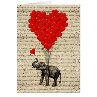 Tarjeta Elefante y globos en forma de corazón