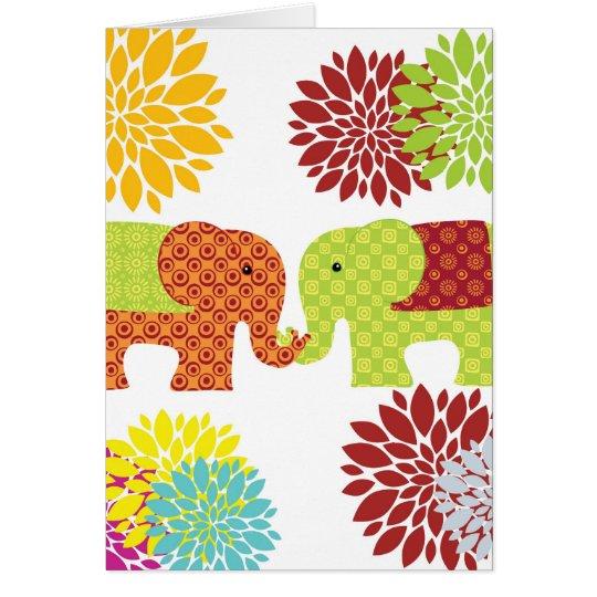 Tarjeta Elefantes bonitos en el amor que sostiene las