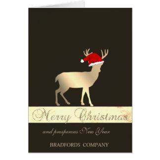 Tarjeta Elegant Black, Christmas Deer Santa Hat, Company