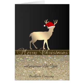 Tarjeta Elegant, Christmas Deer Santa Hat, Glittery,