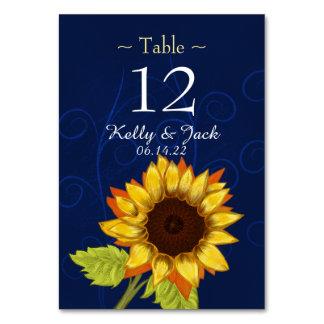 tarjeta elegante azul de la tabla del girasol