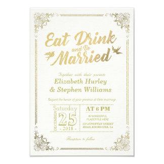 Tarjeta Elegante COMA la bebida y esté casado casando