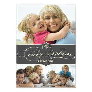 Tarjeta elegante de la foto de familia del día de invitación 12,7 x 17,8 cm