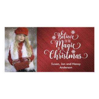 Tarjeta elegante de la foto del navidad rojo y