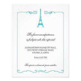Tarjeta elegante de la recepción de la torre Eiffe Invitaciones Personales