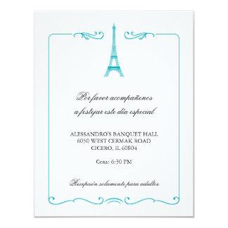 Tarjeta elegante de la recepción de la torre invitaciones personales