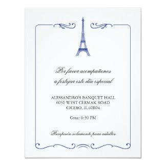 Tarjeta elegante de la recepción de la torre invitación 10,8 x 13,9 cm
