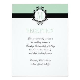 Tarjeta elegante de la recepción nupcial del invitación 10,8 x 13,9 cm