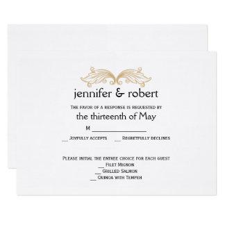 Tarjeta elegante de la respuesta del boda del