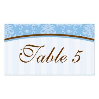 Tarjeta elegante de la tabla del boda en azul y Br Tarjeta De Visita