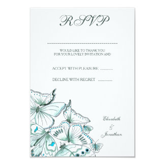 Tarjeta elegante de RSVP de las mariposas de la Invitación 8,9 X 12,7 Cm