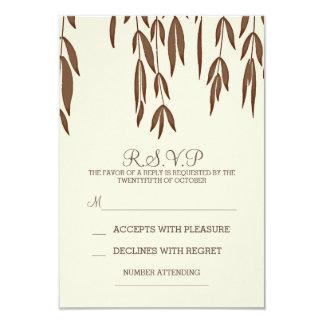 Tarjeta elegante de RSVP de las ramas de sauce que Invitación 8,9 X 12,7 Cm
