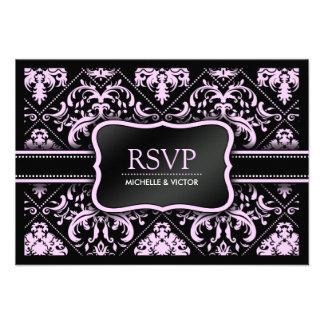 Tarjeta elegante de RSVP del damasco del rosa en c Anuncio