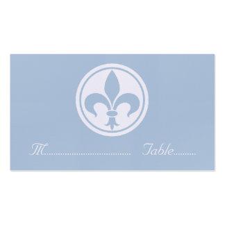Tarjeta elegante del lugar de la flor de lis, azul tarjetas de visita