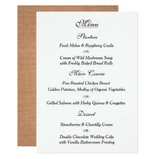 Tarjeta elegante del menú del boda del vintage