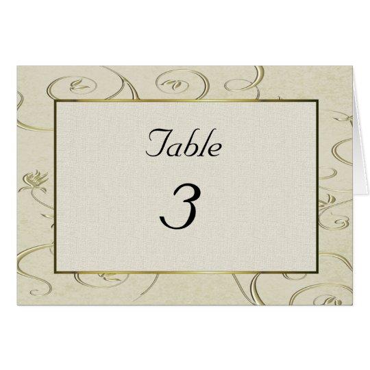 Tarjeta elegante del número de la tabla