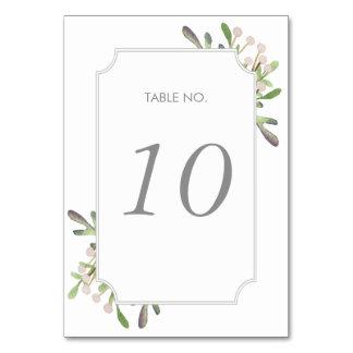 Tarjeta elegante del número de la tabla de la