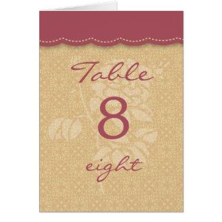 Tarjeta elegante del número de la tabla del otoño