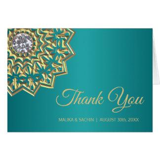 Tarjeta Elegante GRACIAS boda azul verde azulado de la