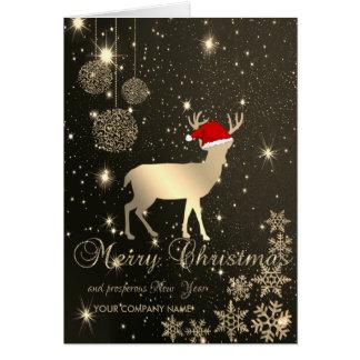 Tarjeta Elegante, navidad ciervos, copos de nieve,