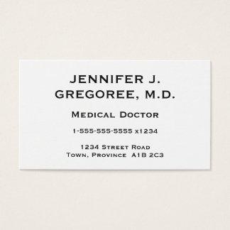 Tarjeta elegante y mínima del médico visita