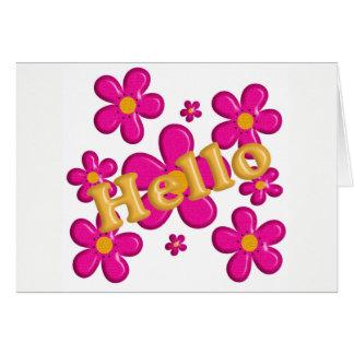 Tarjeta Elemento rosado floral. Hola